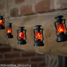 10 Battery Operated Retro Miners Lantern Indoor Outdoor LED Garden String Lights