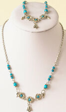 Necklace/bracelet set in acrylic turquoise beads, silver plated spacers & chain