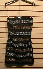 NEW WOMENS JUNIORS SIZE MEDIUM 7-9 SILVER & GOLD SEQUIN STUDDED TUBE SEXY DRESS