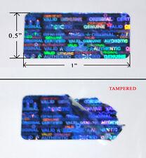 """250 SECURITY LABELS SEALS BLUE HOLOGRAM TAMPER EVIDENT 1"""" X 0.5"""" VOID SVAG PS3"""