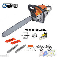 "HEAVY DUTY 58CC 12"" & 20"" PETROL CHAINSAW SAW & CHAIN & COVER 2.2KW TOOL KIT"