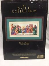 "Dimensions The Gold Collection 1993 The Last Supper Cross Stitch STARTED 18""x9"""