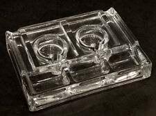 ANTIQUE Vintage DESKTOP Clear Glass DOUBLE INKWELL with FOUNTAIN PEN HOLDER