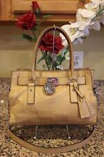 Michael Kors Tan Embossed Leather Hampton Satchel Tote Bag (pu170