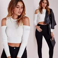 New Sexy Womens Crew Neck Cable Knitted Jumper Pullover Sweater Cropped Tops