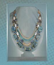 Chunky Boutique Blue Gemstone & Chain Bib Collar Statement Necklace 5230
