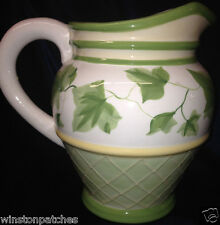 WAVERLY GAZEBO PITCHER 96 OZ GREEN LEAVES & VINE YELLOW & GREEN BANDS