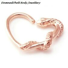 ROSE GOLD PVD SURGICAL STEEL SNAKE DAITH HEART ~ 1.2mm (16g) HELIX, LEFT EAR