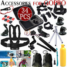 34in1 Pole Mounts F. Go Pro Hero 2 3 3+ 4 5 1 SJ4000 Accessories Set Kit UK