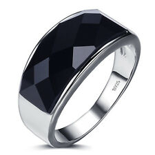 Men's 925 Sterling Silver Black Agate Gemstone Wedding Engagement Ring Jewellery