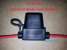 2x Standard Blade Fuse Holder Splash Proof 30A 16 AWG Cable In Line Car Auto