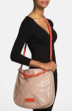 MARC BY MARC JACOBS TOO HOT TO HANDLE HOBO BAG LIGHT TAUPE MULTI PATENT LEATHER