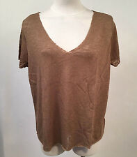 Project Social T Women's V-Neck Shirt Textured Knit Sand SM NWT Urban Outfitters