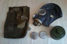 Set Black Gas Mask GP-5M Size 1 2 3 Bag Filter USSR Soviet Russian 1970s NOS