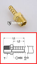 Brass Adapter Fitting Male Hose-Barb Connector 3/8 BSP to 1/4 Tube (50 pcs)