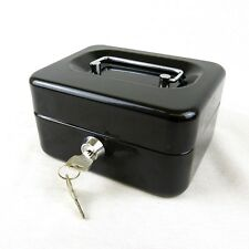 "Hyfive 6"" Black Steel Petty Cash Box Money Holder Security Safe With Keys & Tray"