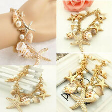 Exaggerated Luxury Chunky Sea Shell Starfish Pearl Bib Gold Statement Bracelets
