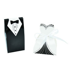 100pcs Dress & Tuxedo Bride Groom Wedding Favour Ribbon Candy Bomboniere Box