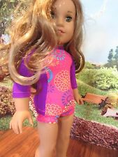 """homemade 18"""" american girl/madame alexander swimsuit grace/ lea doll clothes PUR"""