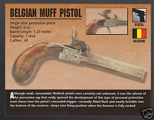 BELGIAN MUFF PERCUSSION PISTOL Classic Firearms PHOTO CARD Belgium 1800s Gun