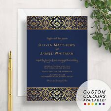 Damask Wedding Invitation | Navy Blue Gold Elegant Formal Floral Flowers Pattern