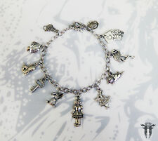 Classic Alice in Wonderland Inspired Silver Plated Simple Charm Bracelet