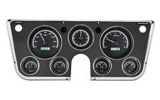 67-72 Chevy Truck C10 Dakota Digital Black Alloy & White Analog Clock Gauge Kit