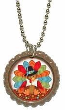 BROWN THANKSGIVING TURKEY BOTTLE CAP NECKLACE (CAP068a)