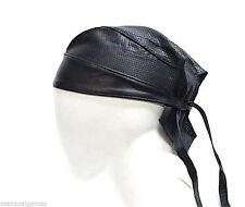 Genuine Leather Skull Cap Tie Back Motorcycle Biker Bandana Attire Breathable