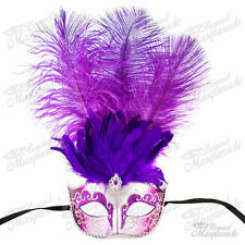 Purple/Silver Venetian Feather Mask with Ostrich Feather -  Masquerade Mask