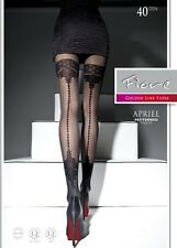 Seamed Sheer to Waist Fiore FASHION Suspender Effect BLACK Pantyhose Tights *XL*