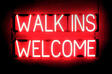 SpellBrite Ultra-Bright WALK INS WELCOME Open Sign Neon-LED Sign (Neon look)