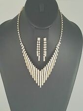 Gold and Clear Rhinestone FASHION Necklace Set
