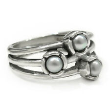 Size 8 925 Solid Sterling Silver Shimmering Pearl Flower Dress Ring Band