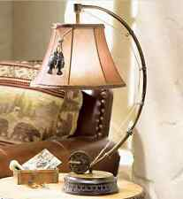 """Catch Of The Day""  Table Lamp Fly Rod & Reel Fish Rustic Cabin Lodge Decor New"