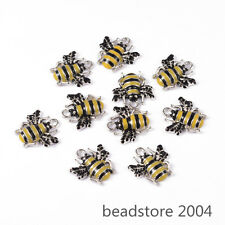 10pcs Platinum Tone Alloy Yellow Enamel Honeybee Bees Pendants Charms 18x17x3mm