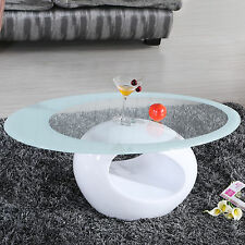 Glass Oval Coffee Table Contemporary Modern Design Living Room Furniture White