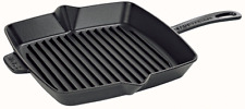 "Staub Cast Iron 12"" American Square Cooking Grill Pan Matte Black NEW"