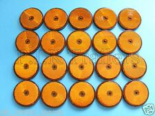 FREE P+P* 20 x AMBER Screw on 60mm Round Reflectors - Trailers & Horse Box