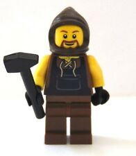 NEW Lego Minifig Castle Knight BLACKSMITH w/Hammer Brown Hood & Legs Black Hands