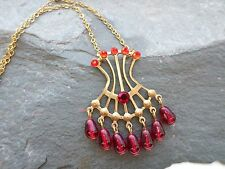 BURLESQUE CORSET PIN-UP SHOWGIRL COSTUME PENDANT NECKLACE  Ruby Red