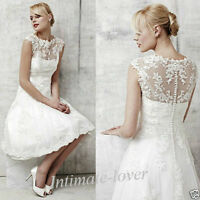 2016 New Stock New White/Ivory Lace Short Wedding Dress Bridal Gown Size 6-16