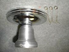 3 chain silver steel chrome LIGHT FIXTURE vtg 30S ART DECO SHADE NEW!!