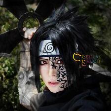 Layered Short Straight Black Naruto Sasuke Uchiha MenAnime Cosplay Wig+Cap