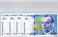 LOT DE QUATRE 50 FRANCS SAINT-EXUPERY 1997 X005492885 - 884 - 883 - 882
