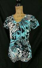 Womens Koi Nursing Scrub Top Extra Small XS Teal Black Pre-owned Butterfly Wing