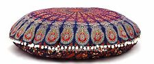 Indian Handmade Peacock Blue Mandala Floor Cushion Yoga Pillow Round Ottoman 32""