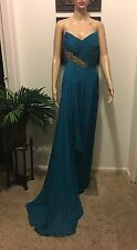 Marchesa Turquoise Size 4 Strapless Evening Gown