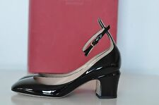 NIB Auth Valentino Tango Patent Leather Ankle Black Pumps Shoes Heels sz 8 / 38
