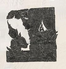 """Thai Temple Rubbing - Black - From the Story of Ramakien - 24"""" x 24""""  -  2432BL"""